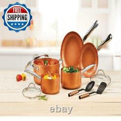 10 Piece Pots Pans Non Stick Cooking Copper Cookware Set Heavy Duty Kitchen Home