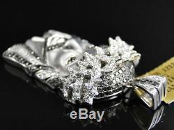 10K White Gold 1.65 Inch Diamond Jesus Face Piece Heavy Head Pendant Charm
