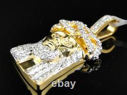 10K Yellow Gold 1.5 Inch Diamond Mini Jesus Face Piece Heavy Head Pendant