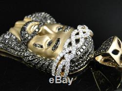 10K Yellow Gold 2 Inch Diamond Jesus Face Piece Heavy Head Pendant Charm