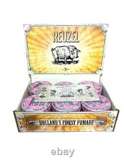 18 piece bulk pack Reuzel heavy hold grease large 113g mens hair wax pink pomade