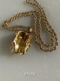 18ct Solid Gold Jesus Piece & 14ct Gold Chain 4mm 17.40g Heavy