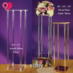 2 Display Pedestal Riser Stand Metal Acrylic Pillar Vase Centerpiece Column Rack