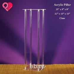 2x Wedding Flower Stand Metal Acrylic Pillar Vase Stand Centerpiece Column Rack