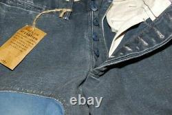 $398 Polo Ralph Lauren RRL Men Patchwork Patch Heavy Jeans Pants Navy Blue 31/32