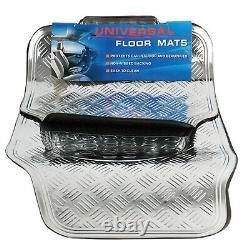 4 Piece Heavy Duty Universal Titan Metallic Look Floor Mat Set Van Car Mats