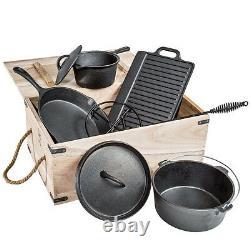 7 Piece Heavy Duty Dutch Oven Cast Iron Cookware Camping Fire Cooking Pot Box