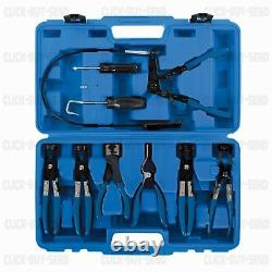 9 PIECE HEAVY DUTY HOSE CLIP REMOVAL TOOL SET CLIPS 18 54 mm CLAMP PLIERS