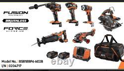 AEG 18V 6.0AH 6 Piece Brushless Heavy Duty Combo Kit BSB18BF6-602B