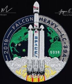 Authentic SPACEX FALCON HEAVY DEMO EMPLOYEE #'d PATCH MADE WITH FLOWN THREAD