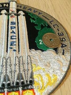 Authentic! SpaceX FALCON HEAVY DEMO employee n. Patch! MADE WITH FLOWN THREAD