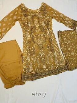 BRAND NEW 3 Piece Heavy Gota Work, Shalwar Kameez Indian Pakistani Dress Small