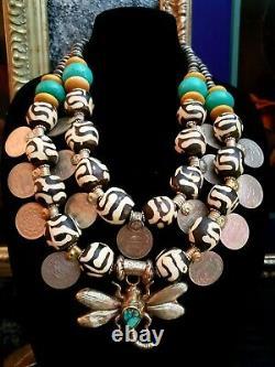 Batik Bone Tribal Chest Piece KATROX Kuchi Coin Ethnic Statement Necklace Heavy