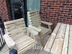 Best Wooden 5 piece Patio Set. Heavy duty, assembled, tanalised