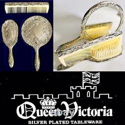 Boxed Vintage 1960s Heavy 3 Piece Silver Plated Brush, Mirror & Comb Vanity Set