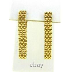 Earrings 14k yellow gold dangle fashion link chain solid heavy one piece