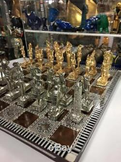Egyptian Chess Set Heavy Brass Pieces & Mother Of Pearl Wood Board Made In Egy