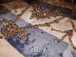 Gold Plated Heavy Bridal Jewellery Green Indian Pakistani 8 Piece Full Set