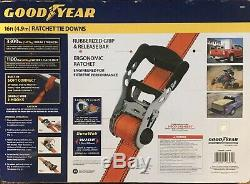 Goodyear Extra Heavy Duty 1-1/2 Ratchet Tie Down Straps Quick Release 4 Piece