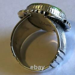 Green Mojave Sterling Silver Ring Denetdale Navajo sz 12.25 Heavy Piece 0085