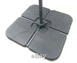 Heavy-Duty Four-Piece Cantilever Parasol Base, Poly-Coated Concrete 100kg