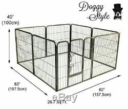 Heavy Duty Puppy Dog Play Pen Enclosure Whelping Playpen 8 Piece Cage DS-HD01L