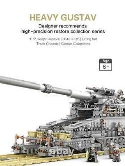 Heavy Gustav Railway Gun WW2 3846 Pieces 3 Soldiers