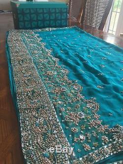 Indian Bridal Engagement Wedding Sari Blue Green Turquoise 3 Piece Dupatta Heavy