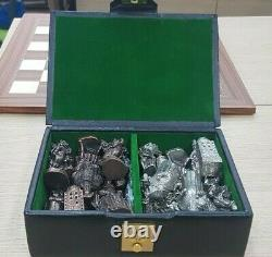 King Henry VIII Heavy Metal Chess Set Metal Pewter Pieces Only In Box No Board