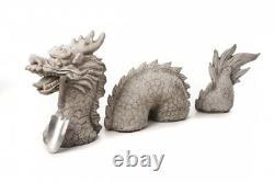Large 3 piece dragon stone case garden ornament VERY HEAVY 65kg by DGS UK