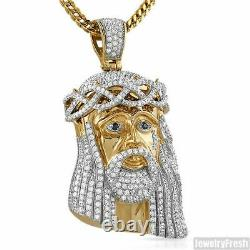 Large 3D Gold Jesus Piece Triple Plated Heavy Top Quality