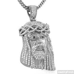 Large Heavy 3D Silver Jesus Piece Pendant Stainless Steel