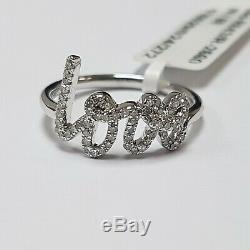 Last Piece 0.35ct Round Diamond Love Ring, UK Hallmarked Heavy 18k White Gold