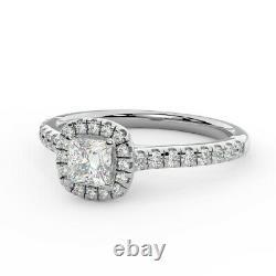 Last Piece 0.60 Ct Princess Diamond Halo Engagement Ring, Heavy White Gold