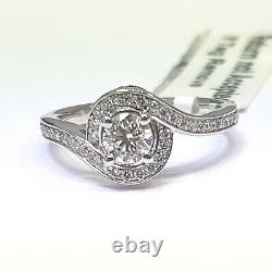 Last Piece 0.70Ct Round Diamond Twisted Halo Engagement Ring, Heavy White Gold