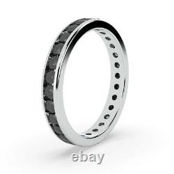 Last Piece. 2.9mm 1Ct Round Black Diamond Full Eternity Ring, Heavy White Gold