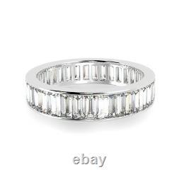 Last Piece 3.5mm 2.00Ct Baguette Diamond Full Eternity Ring, Heavy 18k White Gold