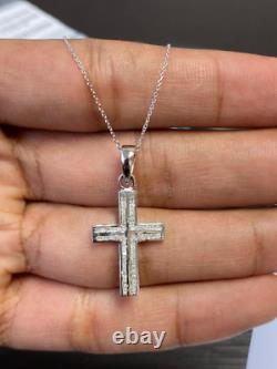 Last Piece 3015.40mm 0.50 Ct Princess Diamond Cross Pendant, Heavy White Gold