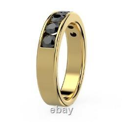 Last Piece. ! 4mm 0.75Ct Black Diamond Half Eternity Ring, Heavy 18k Yellow Gold