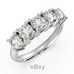Last Piece Certified 1.60 Ct Round Diamond 5 Stone Eternity Ring, Heavy Platinum