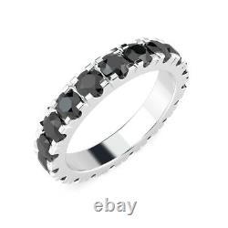 Last Piece Heavy Platinum 3.00Ct Black Diamond Micro Pave Set Full Eternity Ring