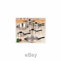 Limited Life Time Warranty Stainless Steel Cookware 17 Piece Set Heavy Gauge