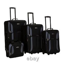 Luggage Set Softside Expandable 4-Piece Black/Gray Durable Heavy Duty Fabric