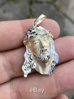 Mens Real Solid 14k Yellow Gold Jesus Face Piece Heavy 11 Grams 1.5x1 Necklace