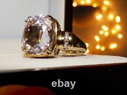 Natural Kunzite Large Carat Gold Ring heavy piece