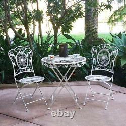 New! 3 Piece Bordeaux Antiqued Heavy Iron Folding Bistro Set 2 Chairs + Table