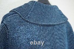 New $790 Rrl Indigo Navy Patch Work Heavy Cotton Shawl Cardigan Repaired