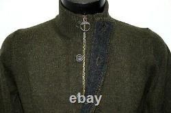 New Barbour Cardigan Wool Dark Green Patch Zip Thru MKN0731 Sweater Patches