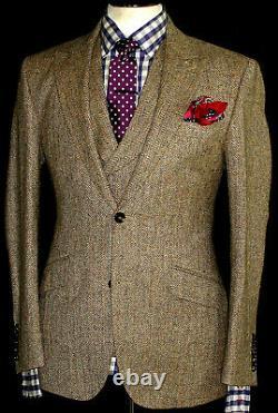 New Mens Walker Slater Heavy Weight Tan Brown Tweed 3 Piece Suit 38r W32 X L32