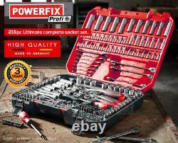 New Parkside Powerfix 216 piece Socket Set Heavy DutyWORLDWIDE SHIPPING